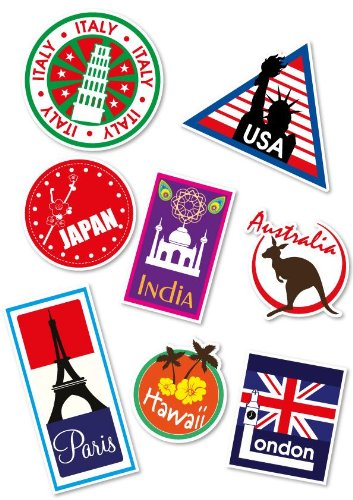 Oldtime european travel stickers on suitcases clipart vector black and white download Supertogether Set of 8 Full-Colour World Travel Locations Suitcase Stickers  - Cool Vinyl Decals also suitable for Laptops Travel Luggage Bags Car ... vector black and white download
