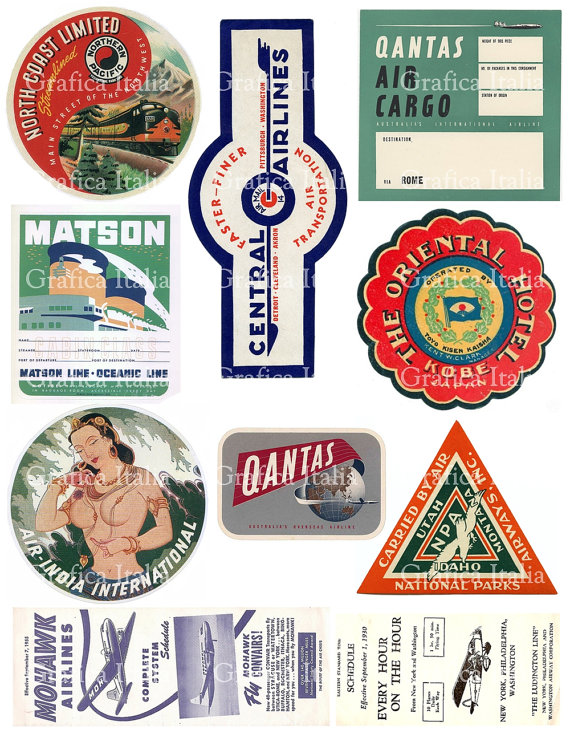 Oldtime european travel stickers on suitcases clipart clip library 10 Travel Stickers Clipart - Retro Digital Printable Collage ... clip library