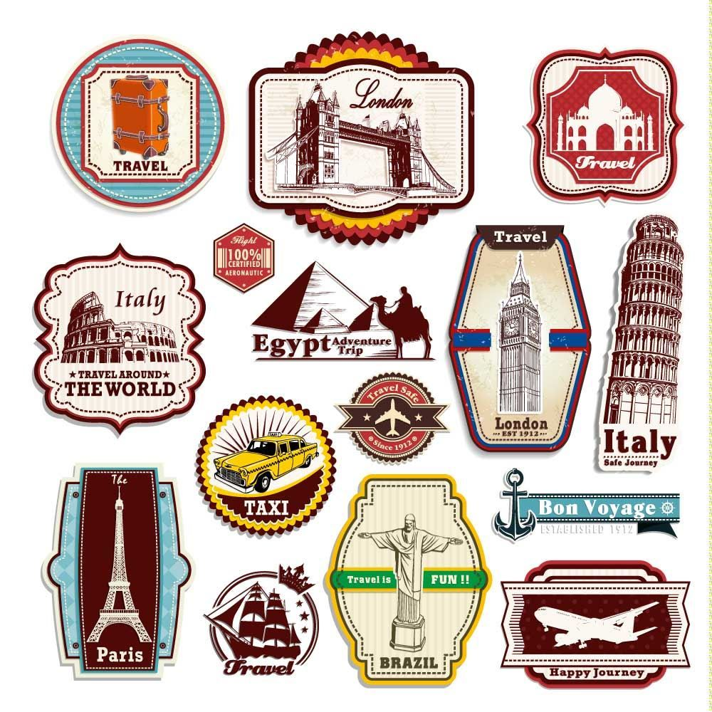 Oldtime european travel stickers on suitcases clipart svg freeuse library Vintage Travel Suitcase Stickers Set Of 15 Luggage Decal ... svg freeuse library