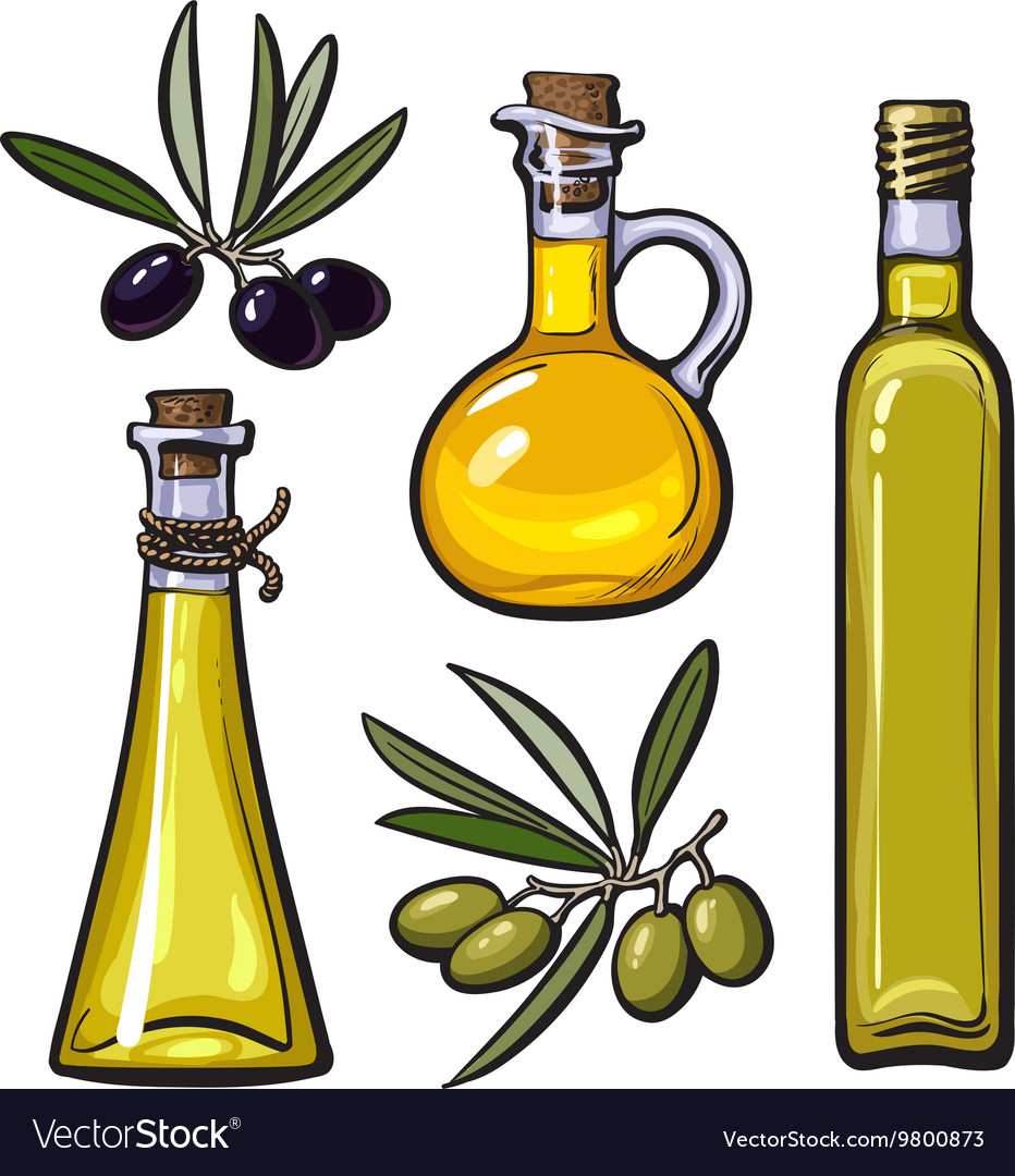 Olive oil bottle clipart clipart royalty free download Set of olive oil bottles with black and green clipart royalty free download