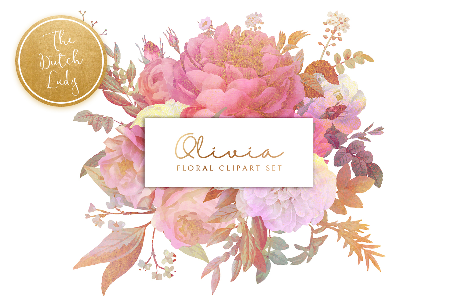 Olivia clipart picture royalty free Floral & Botanical Clipart Set - Olivia picture royalty free
