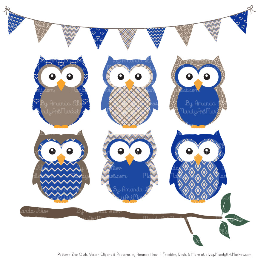 Olw clipart graphic library stock Royal Blue Patterned Owl Clipart & Patterns graphic library stock