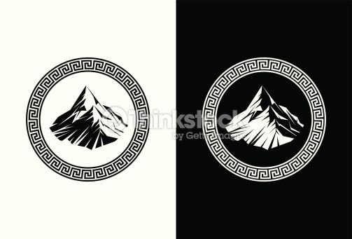 Olympus logo clipart picture black and white stock Illustration of Mount Olympus inside a Greek Key | tats ... picture black and white stock