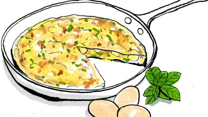Omelet clipart free library Lindsey Bareham\'s potato, feta and bacon omelette with mint ... free library