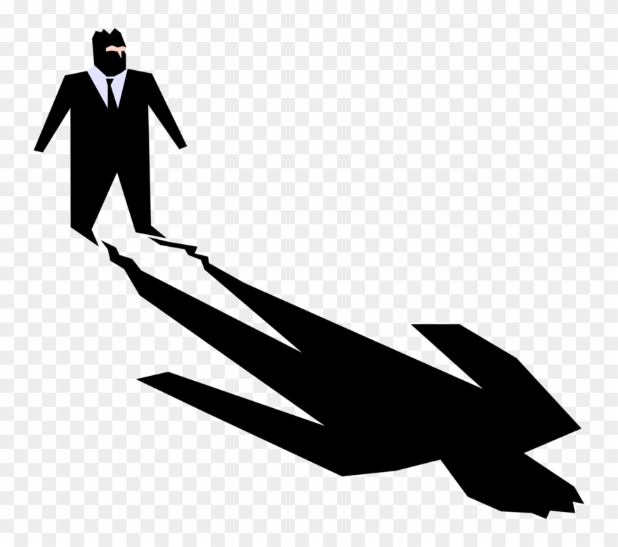 Omniously clipart clip art black and white download Vector Illustration Of Businessman Faces His Own Ominous ... clip art black and white download