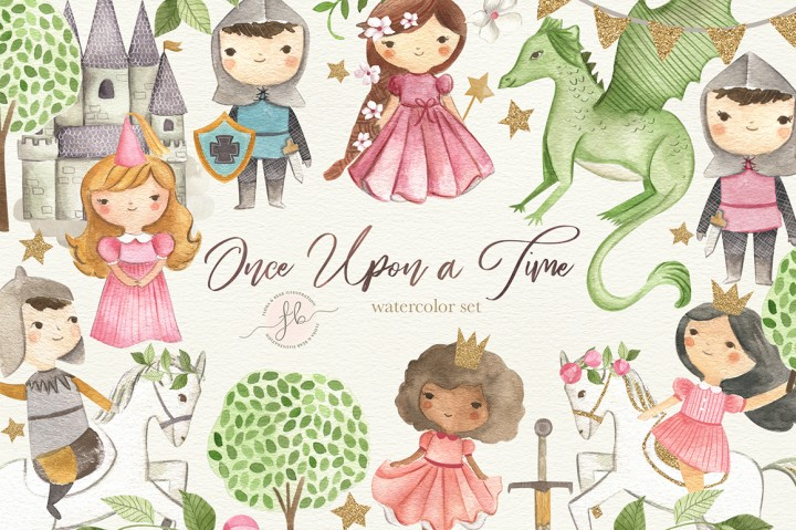 Once upon a time clipart picture transparent stock Once Upon a Time - Princess and Knight Watercolor Clipart ... picture transparent stock