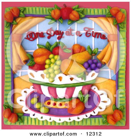 One day at a time clipart clip royalty free stock Clay Sculpture Clipart One Day At A Time Fruit Bowl Scene ... clip royalty free stock