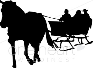 One horse open sleigh clipart png royalty free library Sleigh Ride Clipart   Winter Wedding Clipart png royalty free library