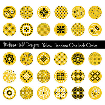 One inch clipart clip royalty free download Yellow Bandana One Inch Circles Clipart clip royalty free download