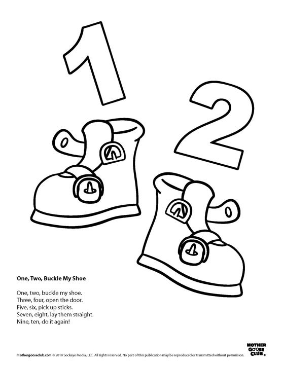 One two buckle my shoe clipart clip art black and white stock Coloring Pages: One Two Buckle My Shoe | Speakaboos ... clip art black and white stock