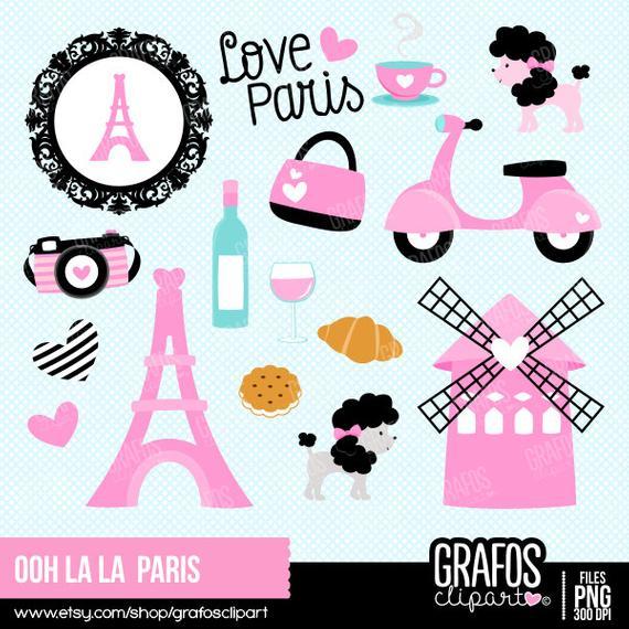 Ooh clipart picture free OOH LALA PARIS - Digital Clipart set, Paris clipart, Eiffel ... picture free