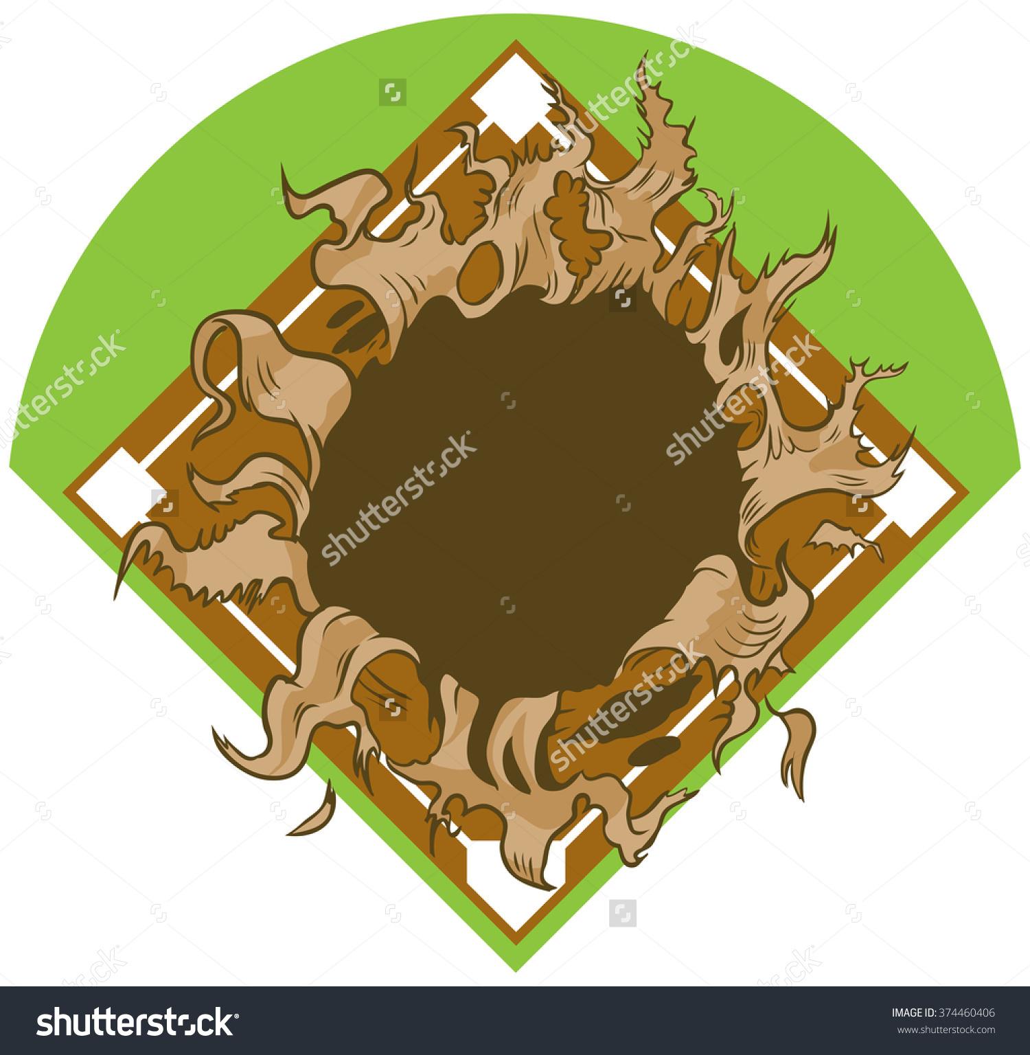 Open baseball cover clipart png library stock Vector Cartoon Clip Art Illustration Hole Stock Vector 374460406 ... png library stock