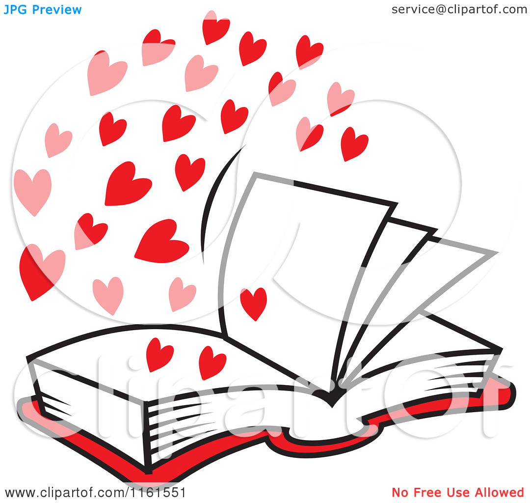 Open book clipart with hearts picture Cartoon of an Open Book of Love with Red Hearts - Royalty Free ... picture