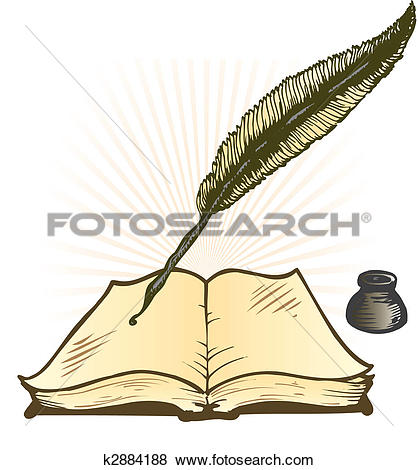 Open books with pen clipart vector transparent Clip Art of Quill Ink Pot and Open Book Vector Illustration ... vector transparent