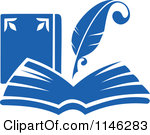Open books with pen clipart clip art royalty free download Clipart of a Blue Quill Pen and Open Book - Royalty Free Vector ... clip art royalty free download