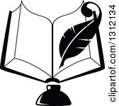 Open books with pen clipart jpg transparent library Clipart of a Black and White Feather Quill Pen and Ink Well on a ... jpg transparent library