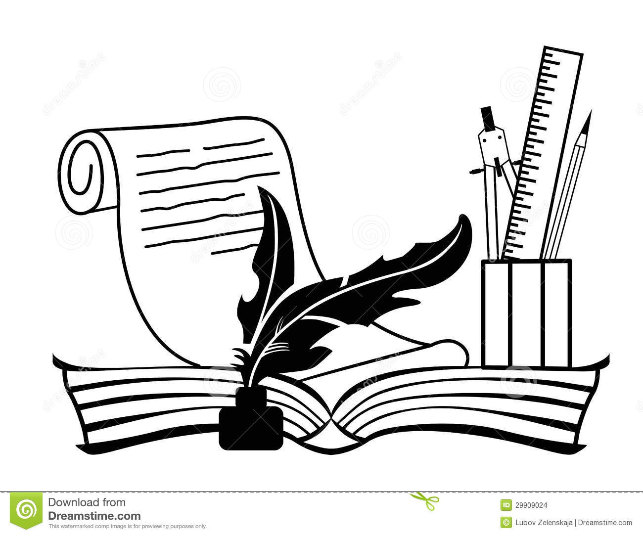 Open books with pen clipart banner black and white stock Open books with pen clipart - ClipartFest banner black and white stock