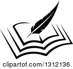 Open books with pen clipart jpg black and white Clipart of a Black and White Feather Quill Pen and Ink Well on a ... jpg black and white