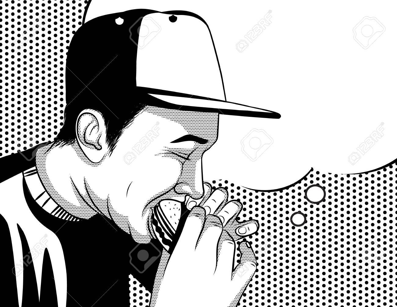 Open mouth eating clipart black and white clip art transparent download Black and white vector poster in comic art style of a guy ... clip art transparent download