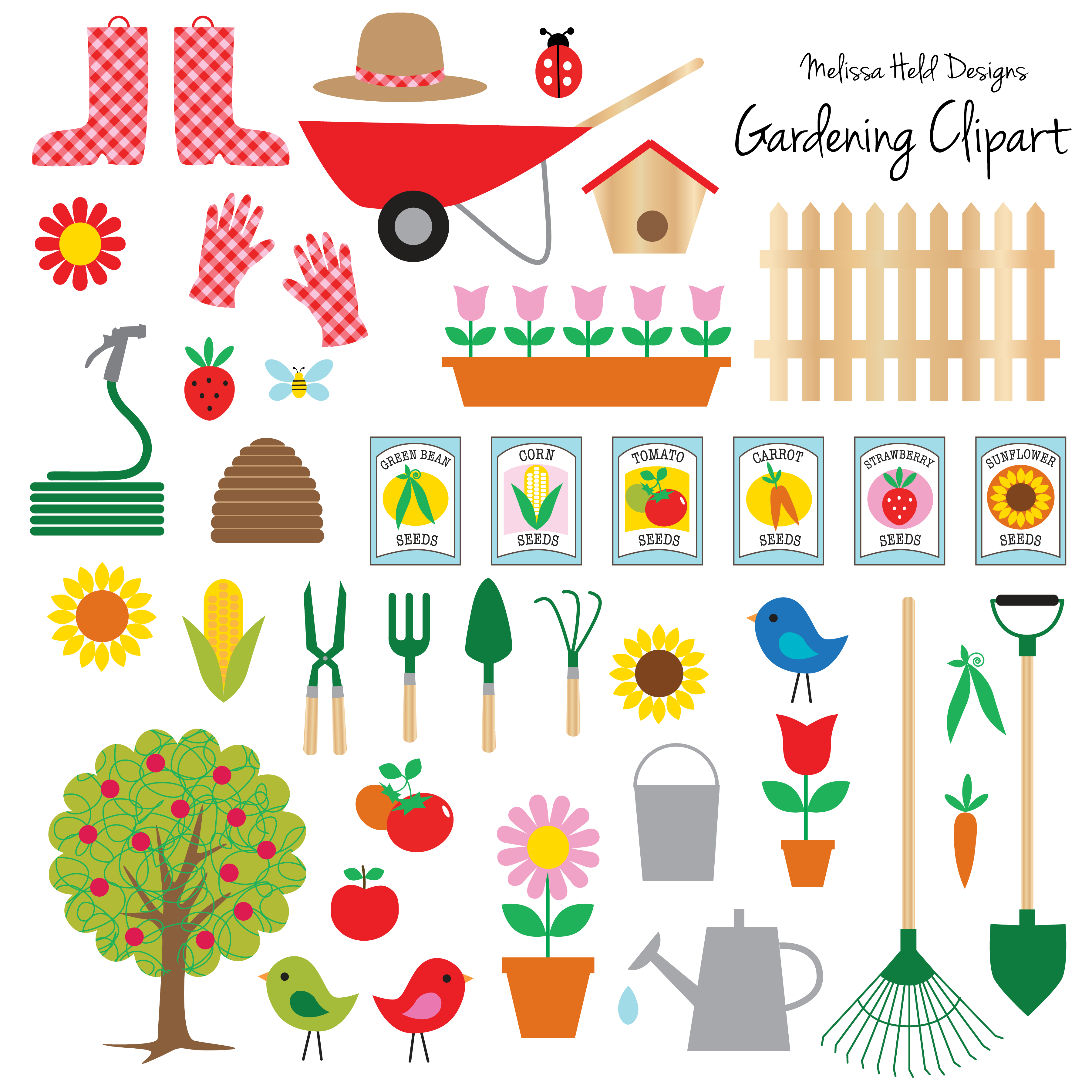 Open seed packets clipart clip art free stock A collection of gardening motifs including tools, seed ... clip art free stock