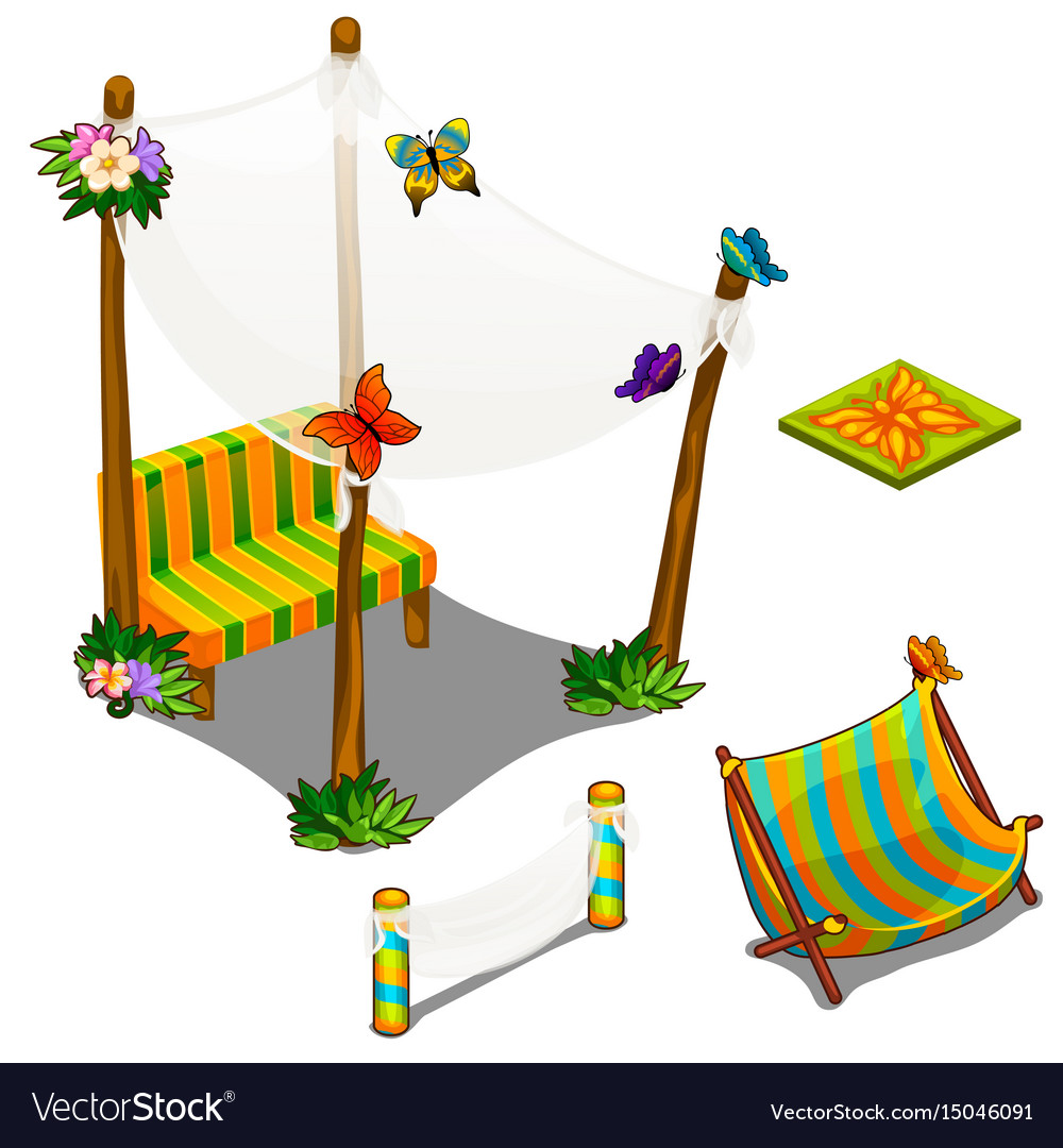 Open-air veranda clipart jpg library stock Furniture and butterfly decorations for veranda vector image jpg library stock