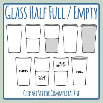 Optomism clipart svg transparent Glass Half Full / Half Empty Attitude - Pessimism vs Optimism Clip Art Set svg transparent