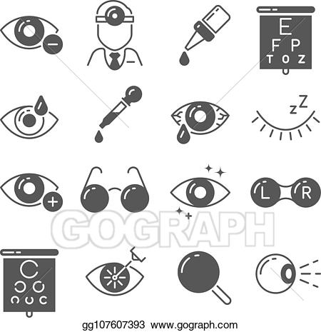 Optomrtry clipart graphic black and white download Vector Clipart - Optometry icons. eye and glasses, vision and lens ... graphic black and white download