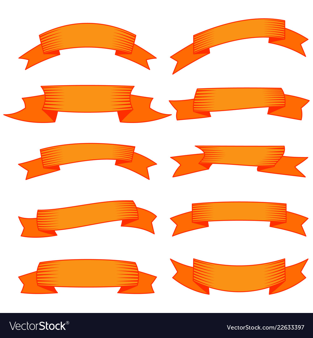 Orange banner clipart clip art royalty free Set of ten orange ribbons and banners clip art royalty free