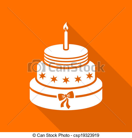 Orange birthday cake clipart picture library Vector Clip Art of Birthday cake - White birthday cake on orange ... picture library
