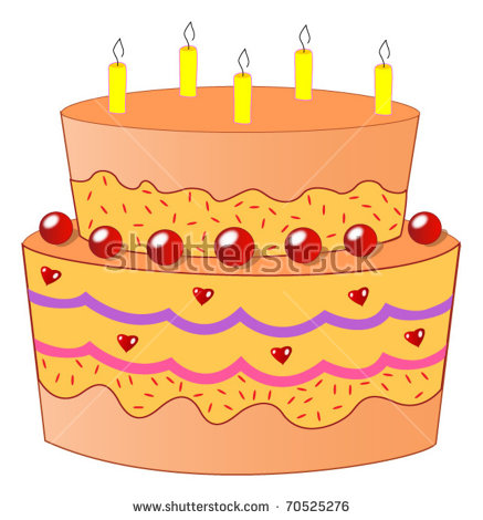 Orange birthday cake clipart clip art library stock A Two Tiered Orange Birthday Cake With Five Candles Stock Vector ... clip art library stock