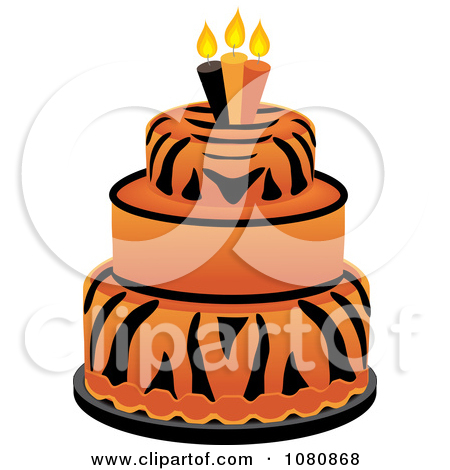 Orange birthday cake clipart vector transparent download Clipart of a Modern Funky Orange Patterned Wedding or Birthday ... vector transparent download