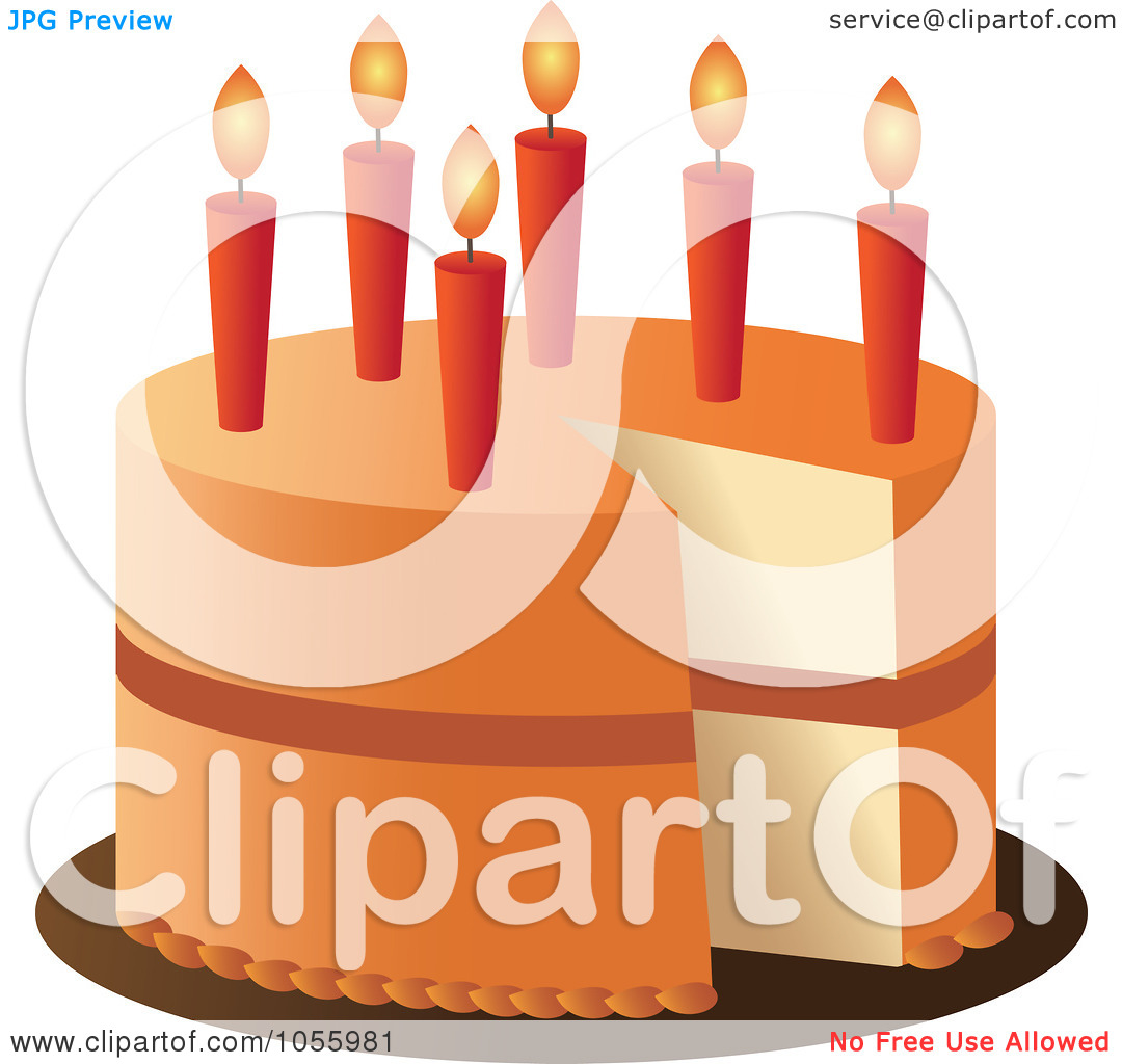 Orange birthday cake clipart graphic Royalty-Free Vector Clip Art Illustration of an Orange Birthday ... graphic