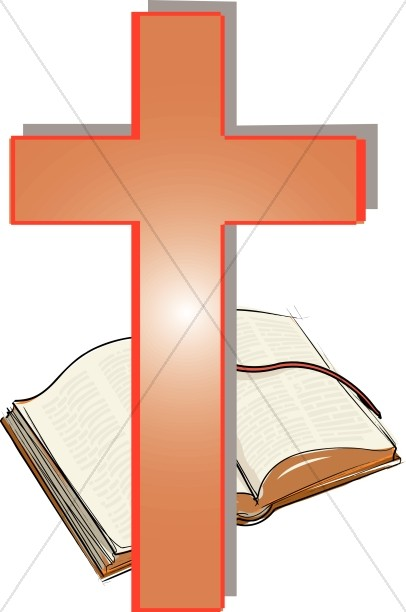 Orange crosses clipart image transparent download Orange Cross and Open Bible Clipart   Cross Clipart image transparent download