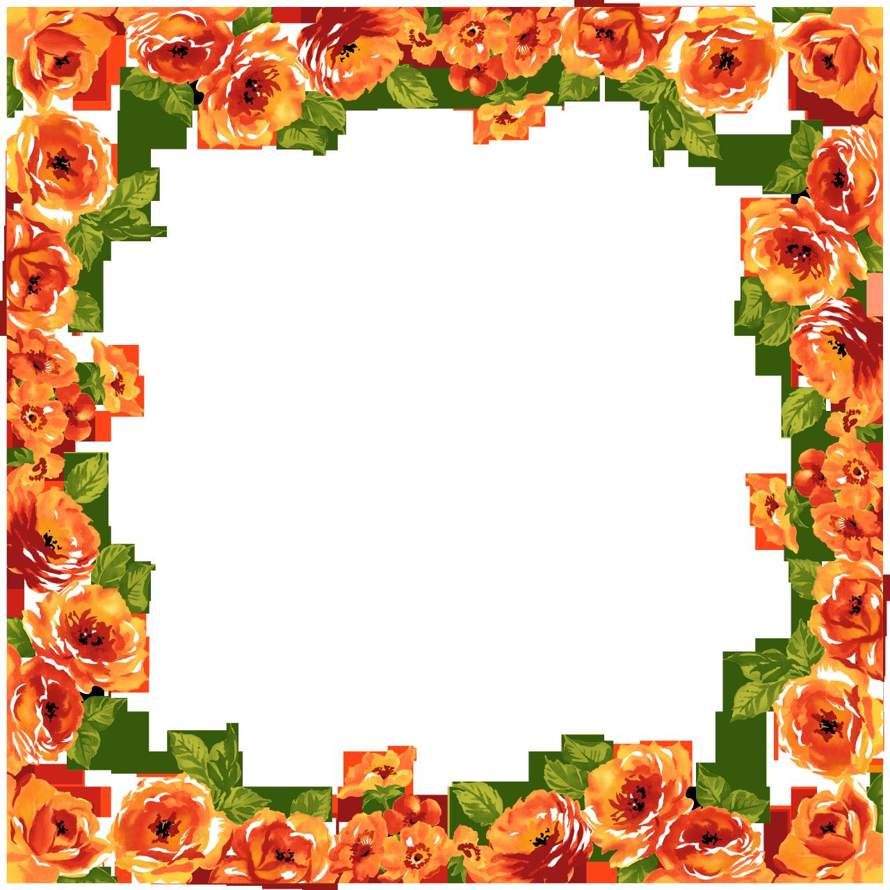 Orange flower border clipart image library Flower Border Images - 5612 - TransparentPNG image library
