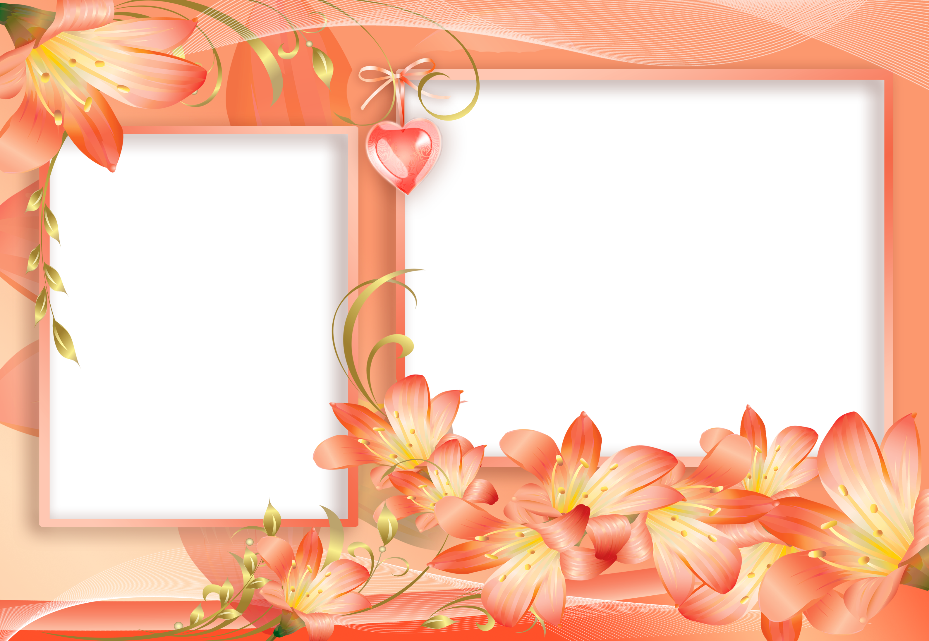 Orange flower border clipart jpg library library Orange and Yellow PNG Flowers Frame with Heart | Bordes | Pinterest ... jpg library library