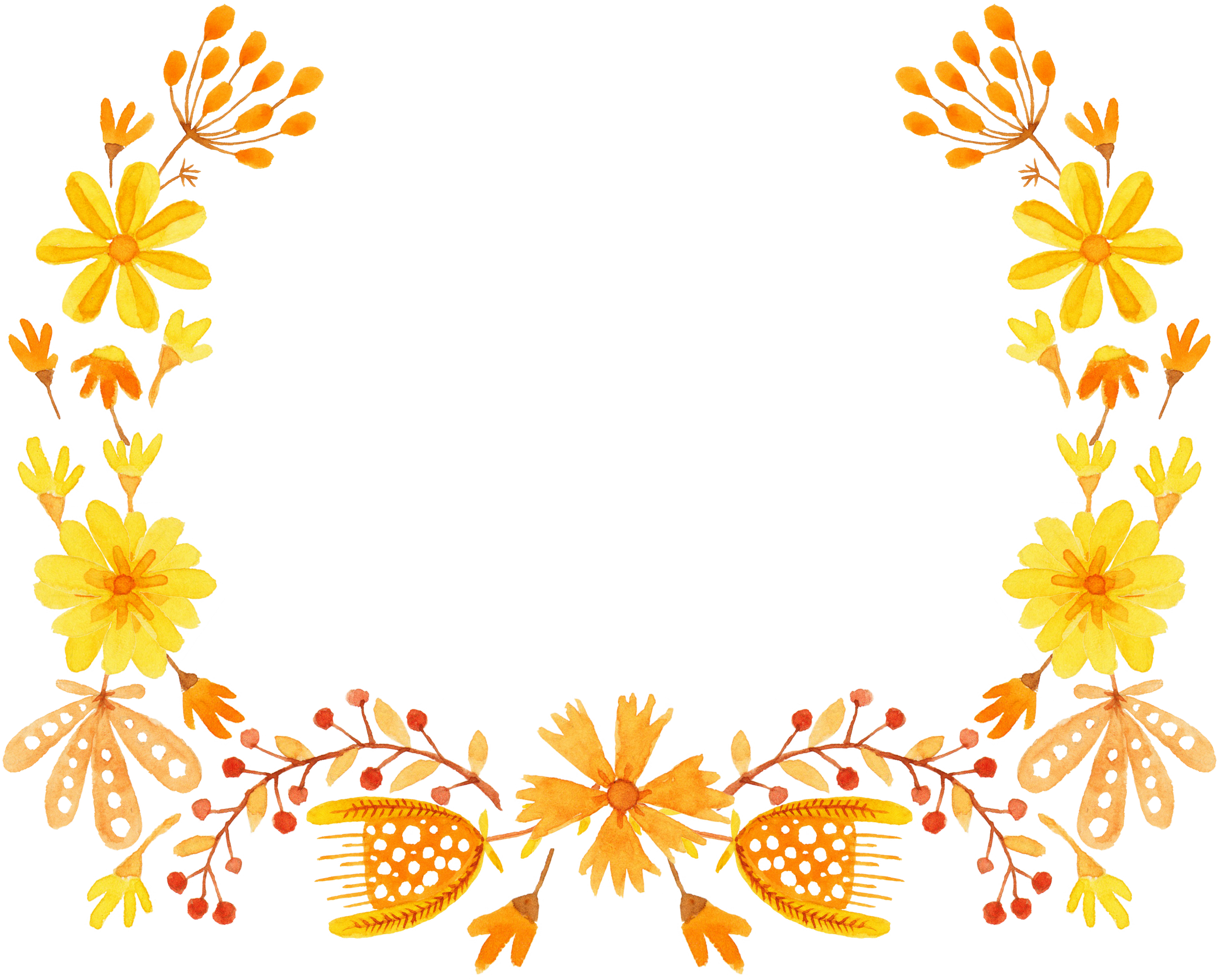 Orange flower border clipart black and white download Yellow Flower Semicircle Clip art - Semi-round yellow floral border ... black and white download