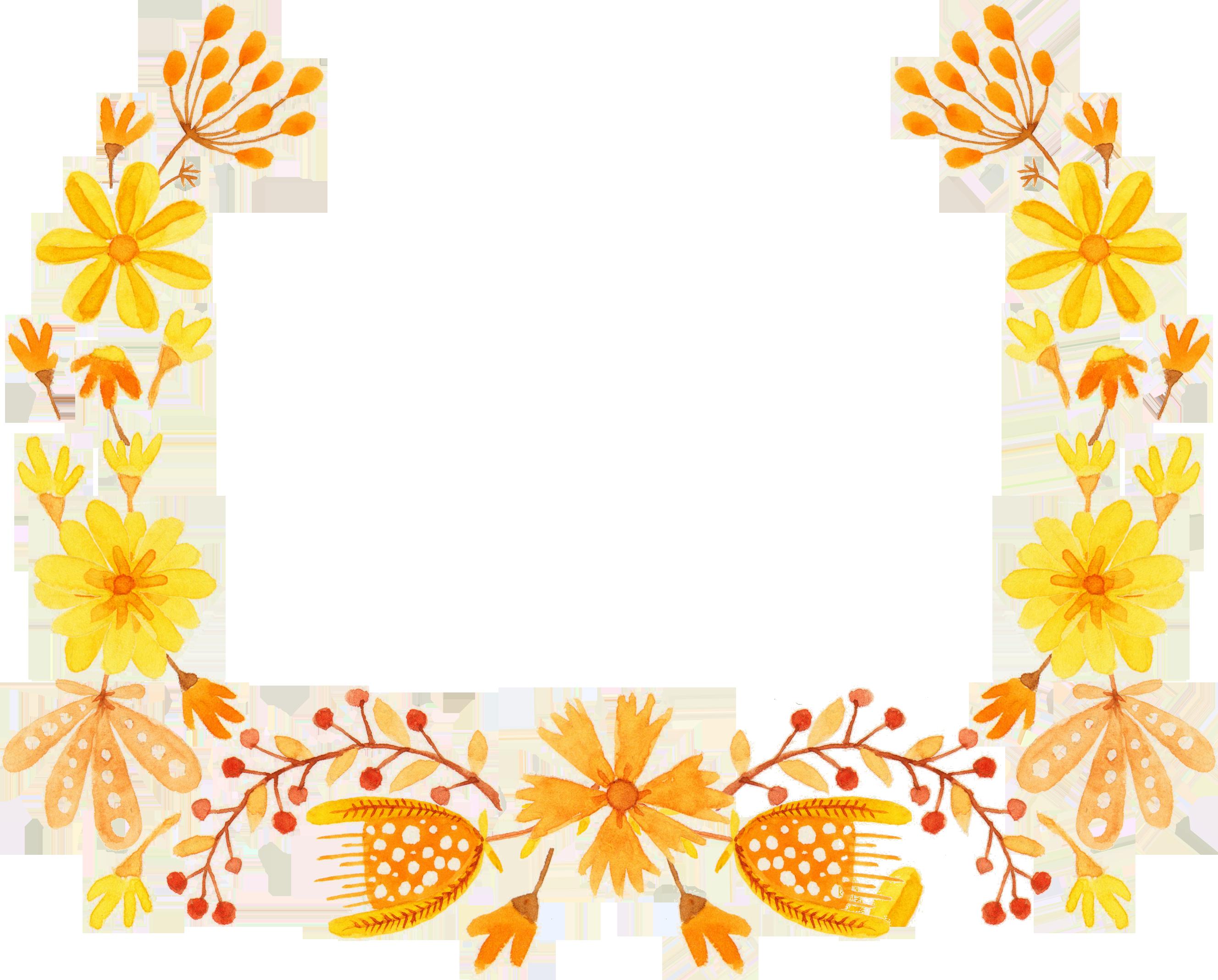 Orange flower border clipart black and white download Yellow Flower Semicircle Clip art - Semi-round yellow floral border ... black and white download
