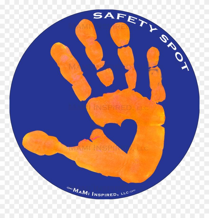 Orange handprint clipart graphic library Safety Spot Orange Kids Hand Car Magnet Handprint Parking - Kids ... graphic library
