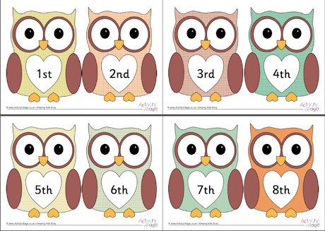 Ordinal numbers 1 10 clipart jpg download Owl Ordinal Numbers 1-10 jpg download