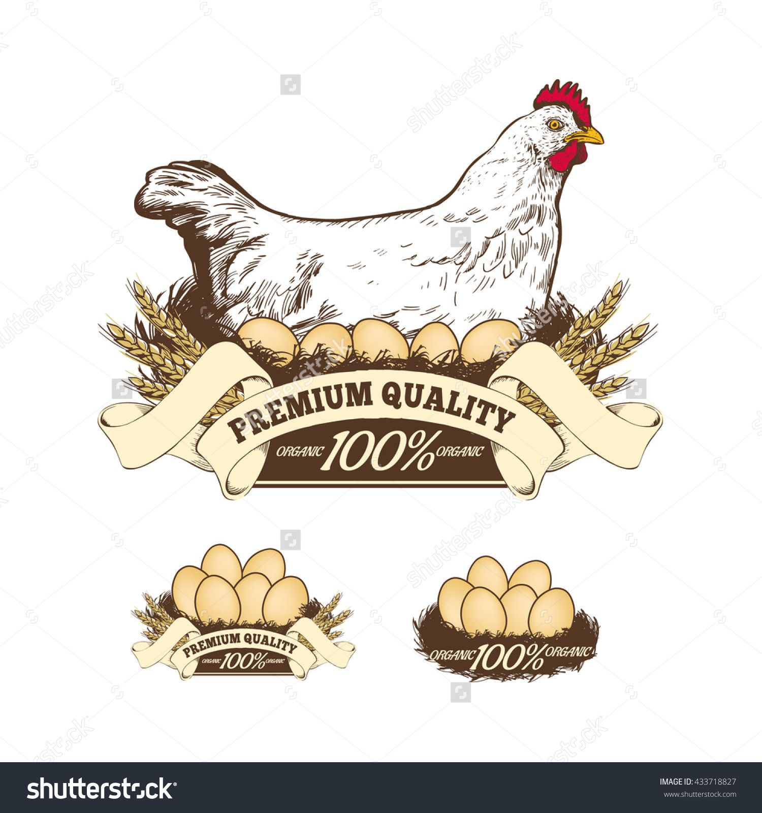 Organic eggs for sale clipart banner download Chicken Farm Premium Quality Fresh Eggs Stock Vector 433718827 ... banner download