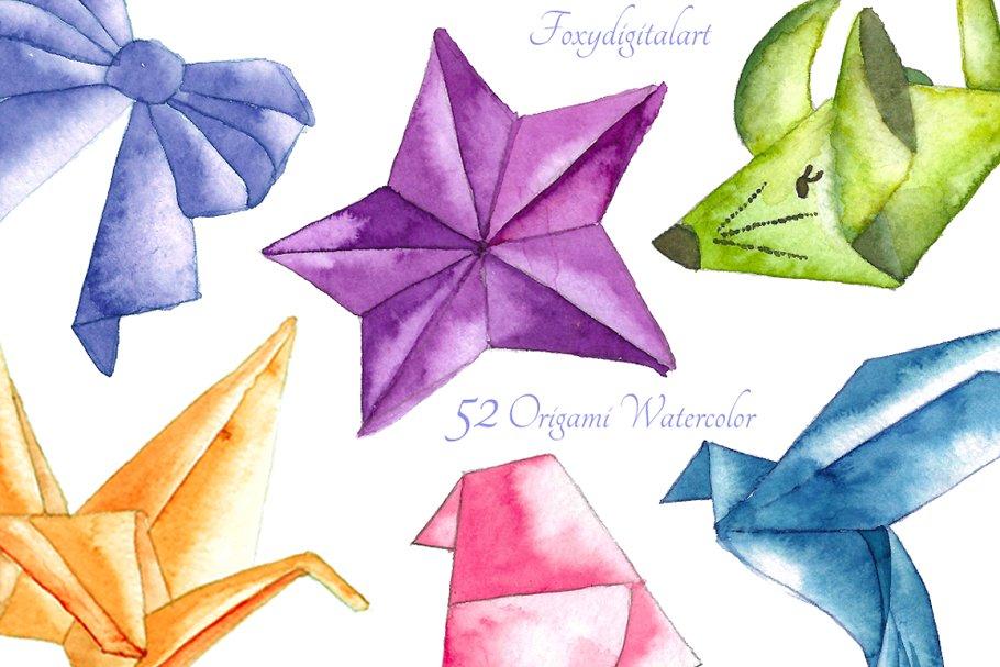 Origimi clipart picture Watercolor origami clipart picture
