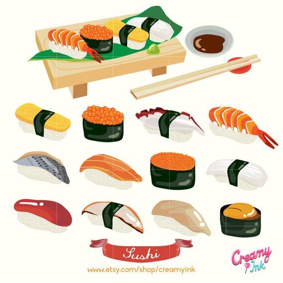 Oriental buffet funny lot of food clipart banner Japanese Sushi Digital Vector Clip art/ Japan Food Digital ... banner