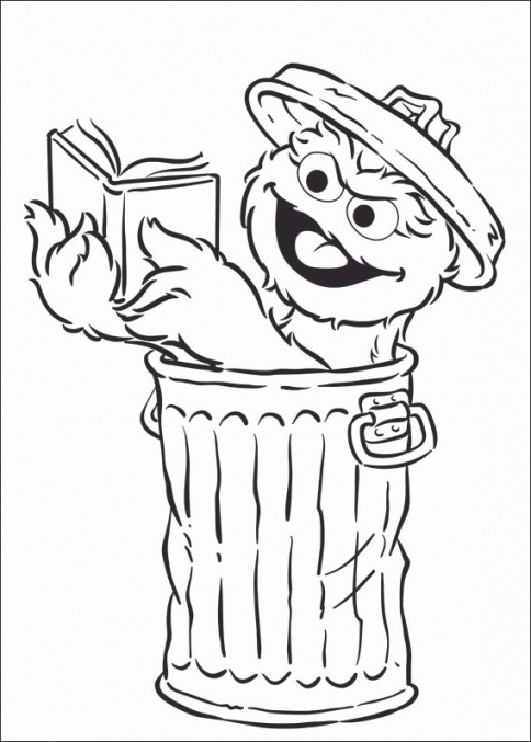 Oscar the grouch clipart in black and white