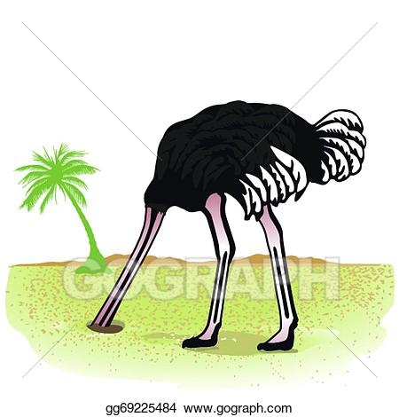 Ostrich with head in the sand clipart clip black and white library Vector Illustration - Ostrich hides its head in the sand ... clip black and white library