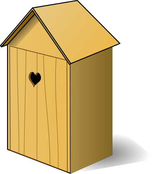 Out house clipart black and white Outhouse With Heart On Door Clip Art at Clker.com - vector clip art ... black and white