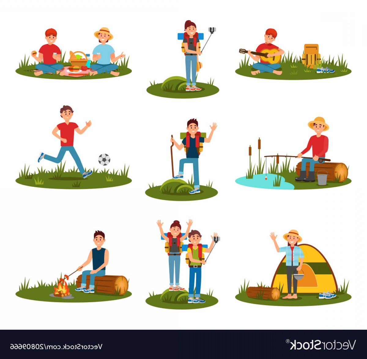 Outdoor recreation clipart image Summer Outdoor Activities Kid Playing Football Vector | SOIDERGI image