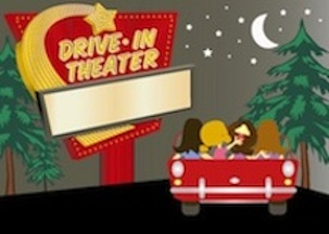 Outdoor movie screen clipart black and white Drive In Theater Trivia | Daily Doo Wop black and white