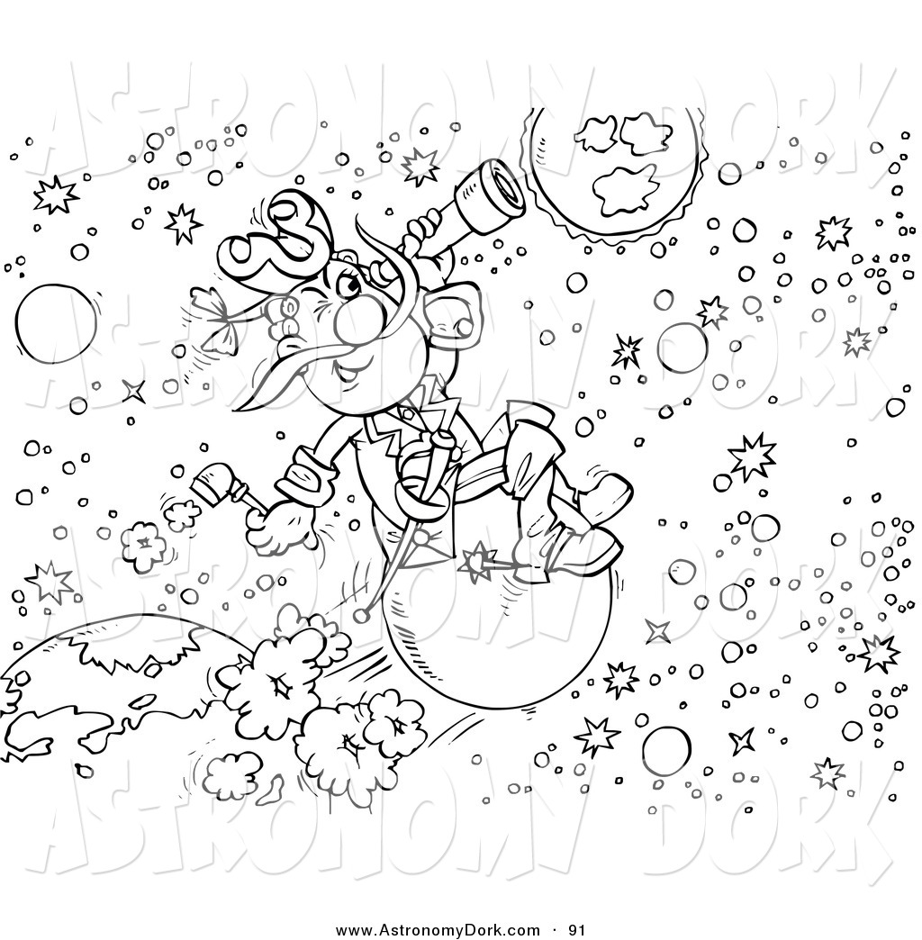 Outer space clipart black and white svg free stock Clip Art of a Black and White Astronomer in Outer Space by ... svg free stock