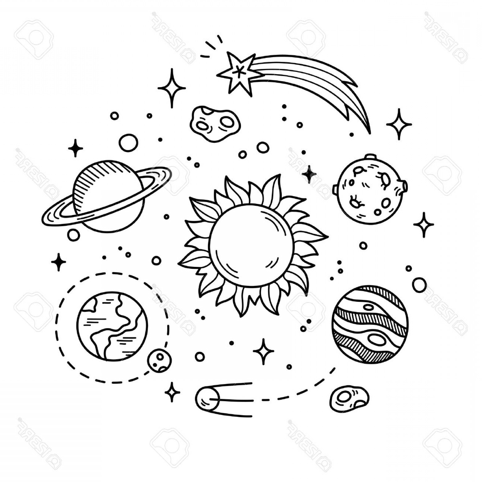 Outer space clipart black and white banner free library Photostock Vector Hand Drawn Solar System With Sun Planets ... banner free library