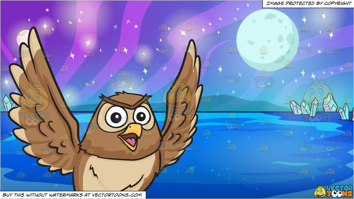 Outer space owl clipart vector free library A flying and chatty owl and Mysterious Outer Space Lake Background vector free library
